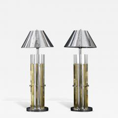 Charles Hollis Jones Mid Century Modern Pair of Brass Chrome Lucite Table Lamps - 322436