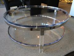 Charles Hollis Jones Round Coffee Table in Lucite Nickel by Charles Hollis Jones Metric Collection - 62180