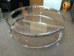 Charles Hollis Jones Round Coffee Table in Lucite Nickel by Charles Hollis Jones Metric Collection - 62181