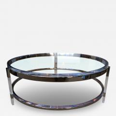 Charles Hollis Jones Round Coffee Table in Lucite Nickel by Charles Hollis Jones Metric Collection - 62519