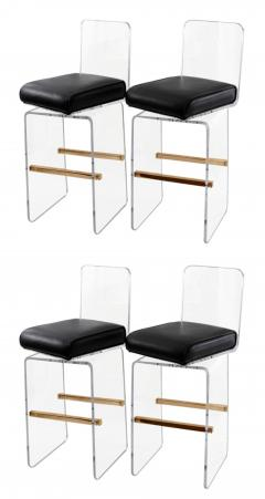 Charles Hollis Jones Set Of 4 Lucite and Leather Barstools by Charles Hollis Jones - 35590