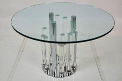 Charles Hollis Jones Skyscraper Dining Center Table in Lucite and Chrome by Charles Hollis Jones - 316687