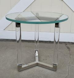 Charles Hollis Jones Tripod Table in Lucite and Polished Nickel by Charles Hollis Jones - 1831209