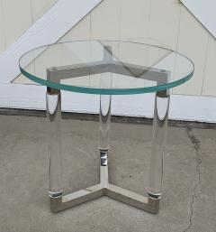 Charles Hollis Jones Tripod Table in Lucite and Polished Nickel by Charles Hollis Jones - 1831214