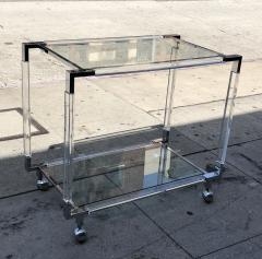 Charles Hollis Jones Vintage Chrome and Lucite Bar Cart by Charles Hollis Jones Metric Collection - 753244