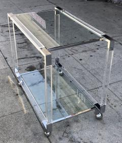 Charles Hollis Jones Vintage Chrome and Lucite Bar Cart by Charles Hollis Jones Metric Collection - 753260