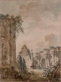 Charles Louis Clerisseau Capriccio with Roman Ruins - 1020049