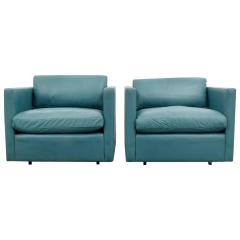 Charles Pfister Pair of Charles Pfister Leather Lounge Chairs - 66704