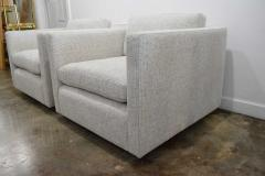 Charles Pfister Pair of Charles Pfister for Knoll Lounge Chairs in Taupe White Upholstery - 1660689