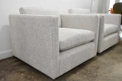 Charles Pfister Pair of Charles Pfister for Knoll Lounge Chairs in Taupe White Upholstery - 1660690