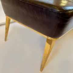 Charles Ramos MCM Brown Leather Bench with Tapered Gilt Metal Legs by Charles Ramos - 1862446