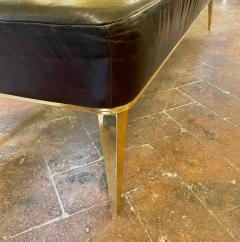 Charles Ramos MCM Brown Leather Bench with Tapered Gilt Metal Legs by Charles Ramos - 1862447