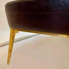 Charles Ramos MCM Brown Leather Bench with Tapered Gilt Metal Legs by Charles Ramos - 1862456