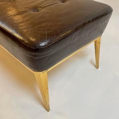 Charles Ramos MCM Brown Leather Bench with Tapered Gilt Metal Legs by Charles Ramos - 1862471