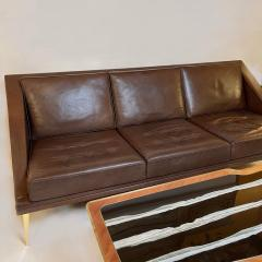 Charles Ramos Mid Century Modern Brown Leather Sofa with Tapered Gilt Metal Legs by C Ramos - 1862462