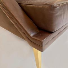 Charles Ramos Mid Century Modern Brown Leather Sofa with Tapered Gilt Metal Legs by C Ramos - 1862463