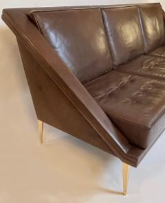 Charles Ramos Mid Century Modern Brown Leather Sofa with Tapered Gilt Metal Legs by C Ramos - 1862475