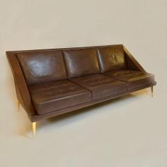 Charles Ramos Mid Century Modern Brown Leather Sofa with Tapered Gilt Metal Legs by C Ramos - 1862481