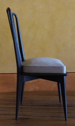 Charles Ramos Mid Century Modern Set of 6 French Black and Gray Chairs by Charles Ramos - 1696657