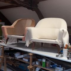 Charles Ramos Pair of Armchairs by Charles Ramos France 1950s - 720153