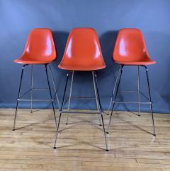 Charles Ray Eames Set of Charles Ray Eames Fiberglass Shell Bar Stools - 1384606