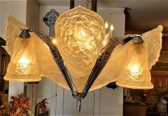 Charles Schneider French Schneider Art Deco Chandelier - 1723231