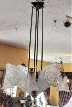 Charles Schneider French Schneider Art Deco Chandelier - 1723233
