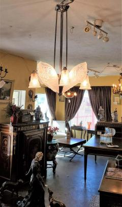 Charles Schneider French Schneider Art Deco Chandelier - 1723240