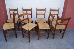 Charles Webb Set of Eight Teak and Rush Dining Chairs by Charles Webb - 1606424