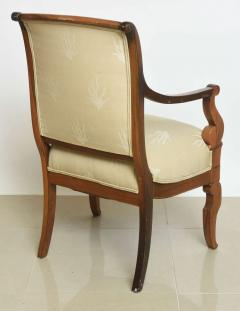 Charles X Inlaid Mahogany and Walnut Open Armchair France - 364328