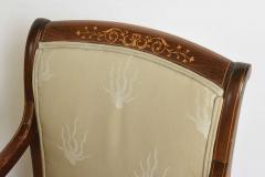 Charles X Inlaid Mahogany and Walnut Open Armchair France - 364329