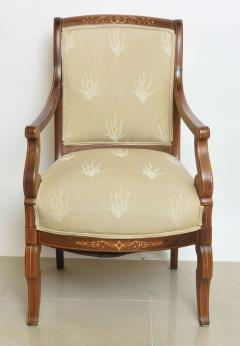 Charles X Inlaid Mahogany and Walnut Open Armchair France - 364331