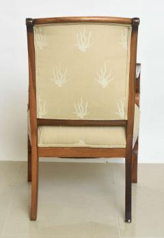Charles X Inlaid Mahogany and Walnut Open Armchair France - 364332
