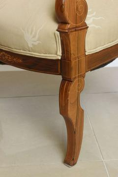 Charles X Inlaid Mahogany and Walnut Open Armchair France - 364335