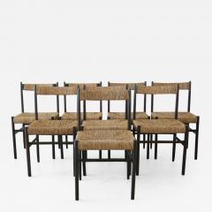 Charlotte Perriand CHARLOTTE PERRIAND ATTRIBUTED DINING CHAIRS FOR ROBERT SENTOU SET OF 8 - 1888215