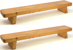 Charlotte Perriand Charlotte Perrand style pair of sturdy solid pine coffee table or benches - 1639914