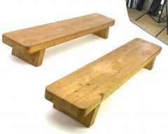 Charlotte Perriand Charlotte Perrand style pair of sturdy solid pine coffee table or benches - 1639926