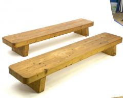 Charlotte Perriand Charlotte Perrand style pair of sturdy solid pine coffee table or benches - 1640123