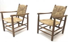 Charlotte Perriand Charlotte Perriand Iconic pair of Rush Arm Chair in Genuine Vintage Condition - 1119589