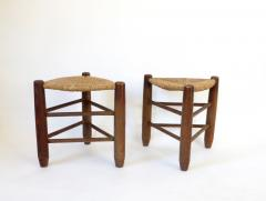 Charlotte Perriand Charlotte Perriand Pair of Tripod Rush Seat and Oak Stools for Les Arcs - 1212844