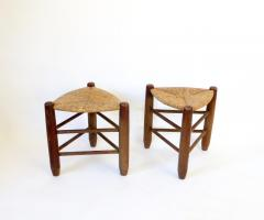 Charlotte Perriand Charlotte Perriand Pair of Tripod Rush Seat and Oak Stools for Les Arcs - 1212845