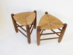 Charlotte Perriand Charlotte Perriand Pair of Tripod Rush Seat and Oak Stools for Les Arcs - 1212847