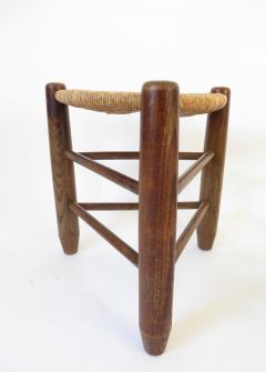 Charlotte Perriand Charlotte Perriand Pair of Tripod Rush Seat and Oak Stools for Les Arcs - 1212849