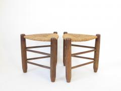 Charlotte Perriand Charlotte Perriand Pair of Tripod Rush Seat and Oak Stools for Les Arcs - 1212851
