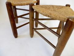 Charlotte Perriand Charlotte Perriand Pair of Tripod Rush Seat and Oak Stools for Les Arcs - 1212852