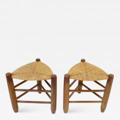 Charlotte Perriand Charlotte Perriand Pair of Tripod Rush Seat and Oak Stools for Les Arcs - 1213633