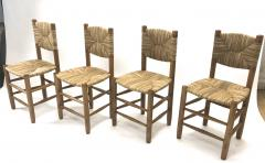 Charlotte Perriand Charlotte Perriand genuine set of 4 Bauche chairs in ash tree and rush - 1119729
