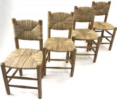 Charlotte Perriand Charlotte Perriand genuine set of 4 Bauche chairs in ash tree and rush - 1119730