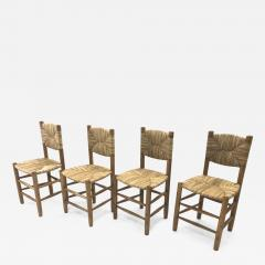 Charlotte Perriand Charlotte Perriand genuine set of 4 Bauche chairs in ash tree and rush - 1120135