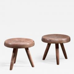 Charlotte Perriand Charlotte Perriand pair of low ash stools - 1585186